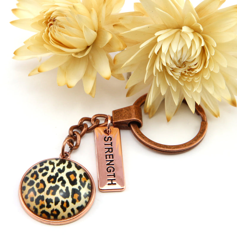 The STRONG Women Collection - Vintage Copper Keyring with 'STRENGTH' Charm - Wild Thing Leopard (10855)