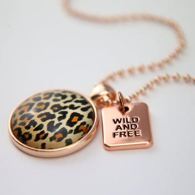 The STRONG WOMEN Collection - Rose Gold ' WILD & FREE ' Necklace - Wild Thing Leopard (10633)