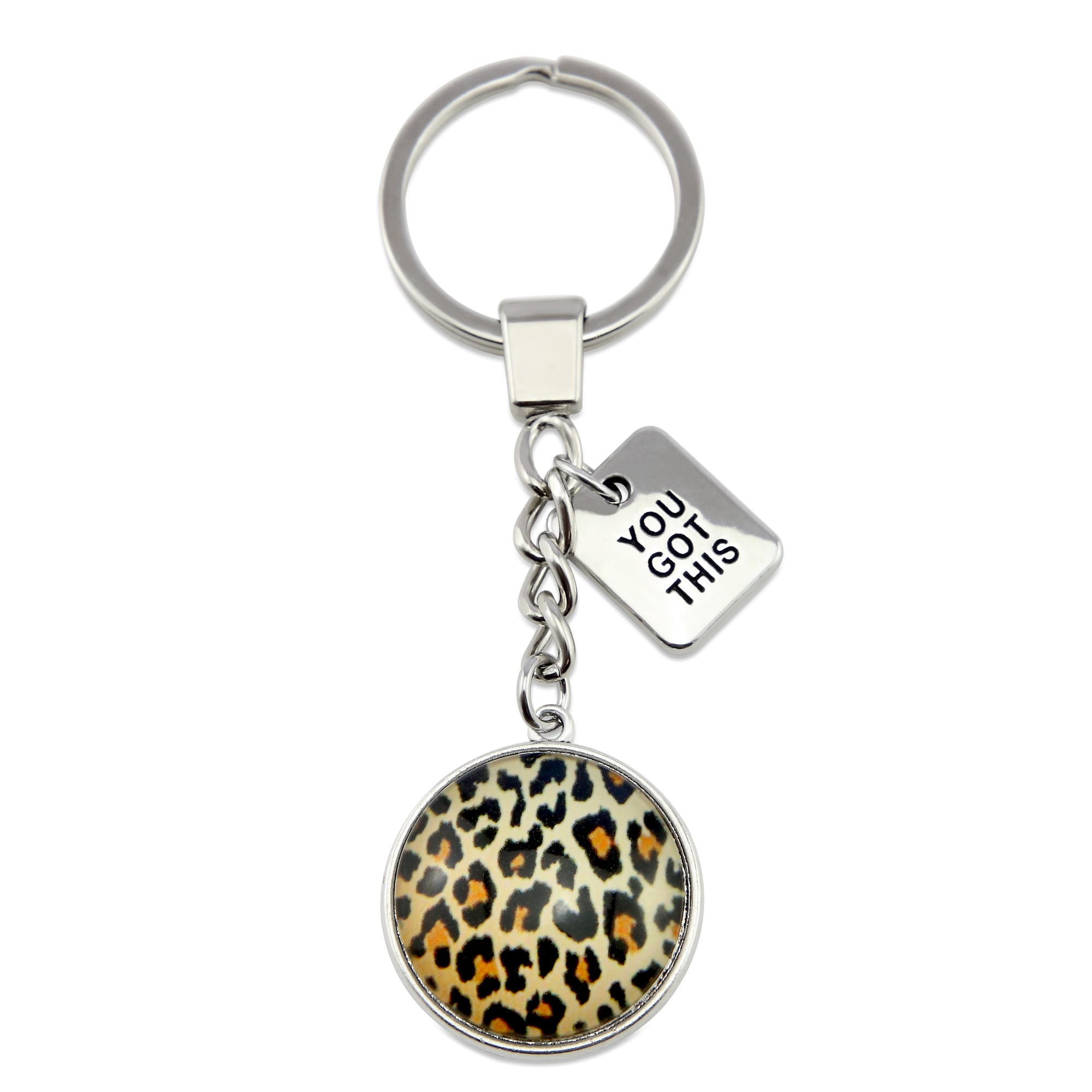 The STRONG Women Collection - Vintage Silver Keyring with 'YOU GOT THIS' Charm - Wild Thing Leopard (10625)