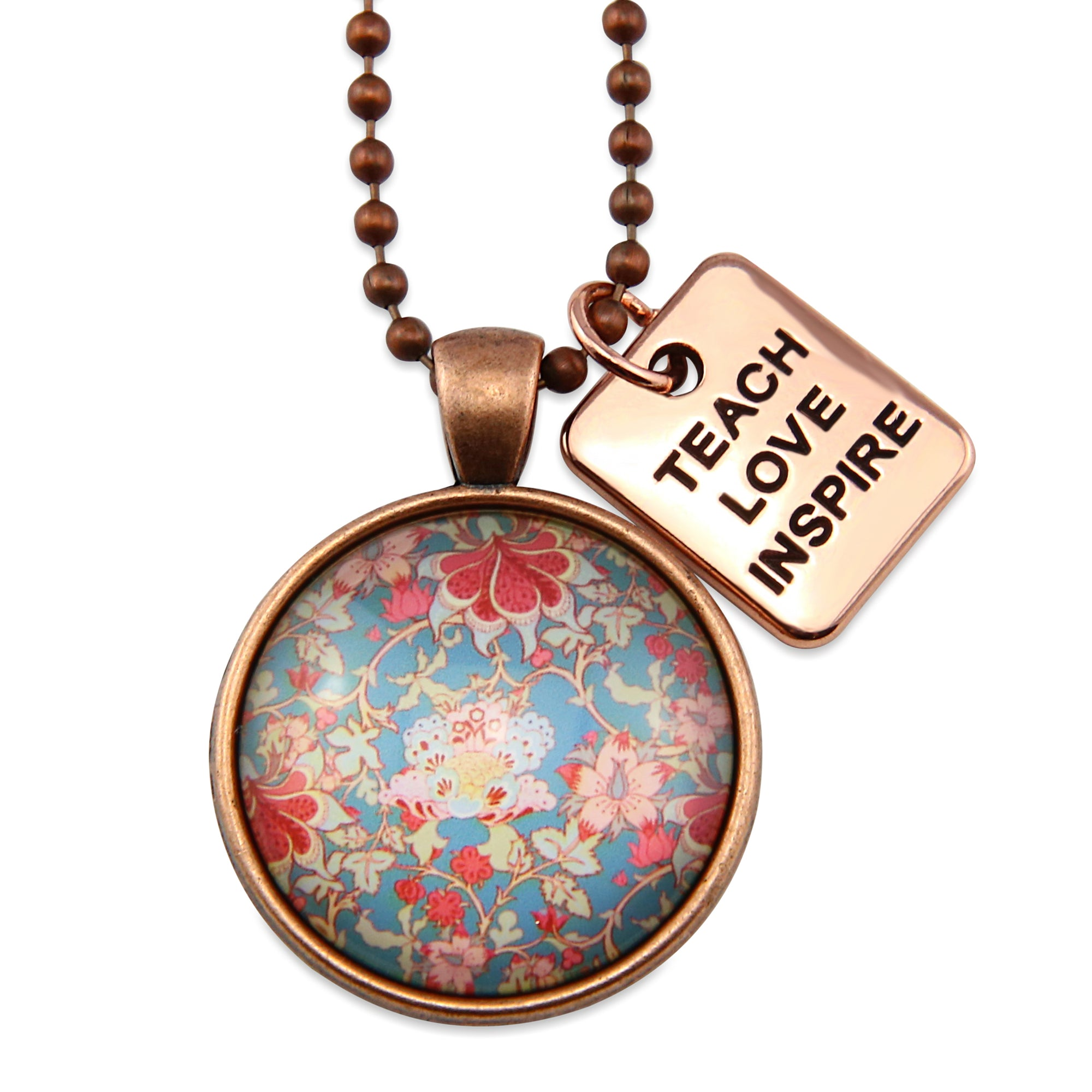 BOHO Collection - Vintage Copper 'TEACH LOVE INSPIRE' Necklace - Willow (10832)