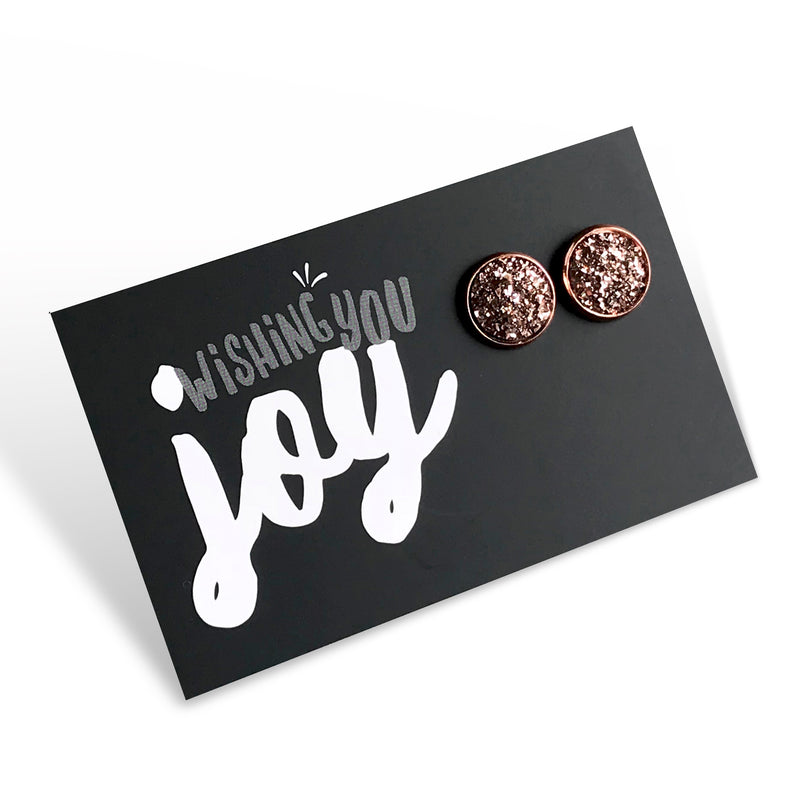 SPARKLEFEST - Wishing You Joy! Rose Gold Druzy in Rose Gold Earrings (8804-R)