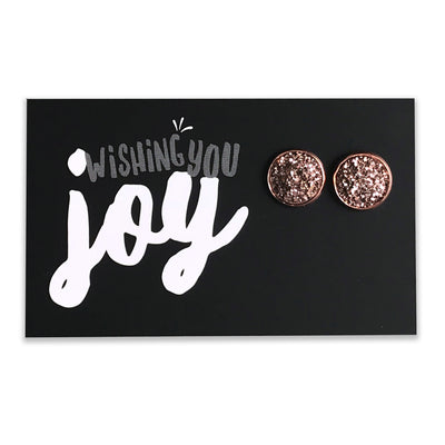 SPARKLEFEST - Wishing You Joy! Rose Gold Druzy in Rose Gold Earrings (8084)