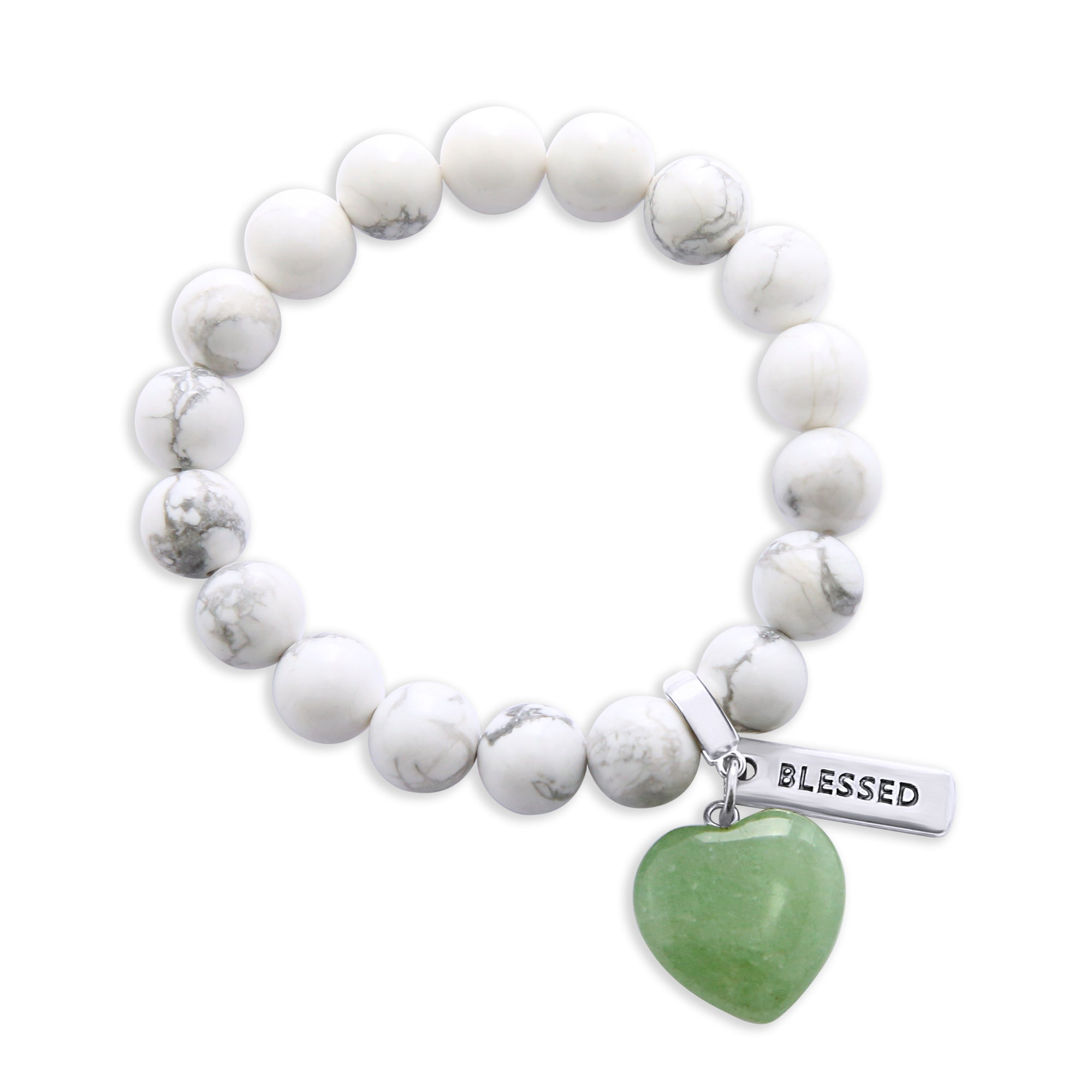 SWEETHEART Bracelet - 10mm WHITE MARBLE with DUSTY GREEN ADVENTURINE heart charm & Word Charm