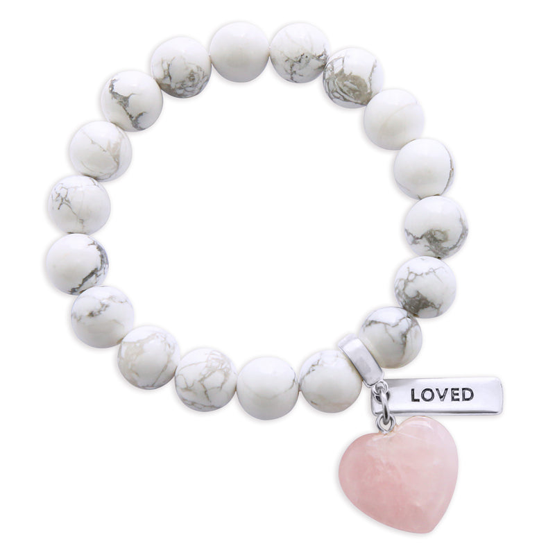 SWEETHEART Bracelet - 10mm WHITE MARBLE with ROSE QUARTZ heart charm & Word Charm
