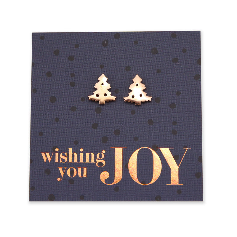 Christmas! Stainless Steel Earring Studs - Wishing You Joy - Christmas Tree