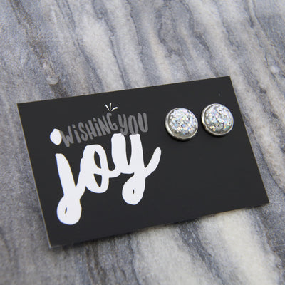 SPARKLEFEST - Wishing You Joy! Glitter Resin Earrings set in Silver - Silver (8805)