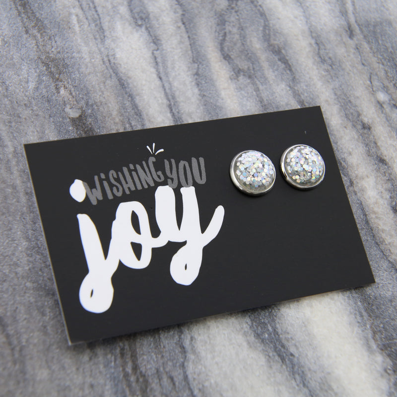 SPARKLEFEST - Wishing You Joy! Glitter Resin Earrings set in Silver - Silver (8085)