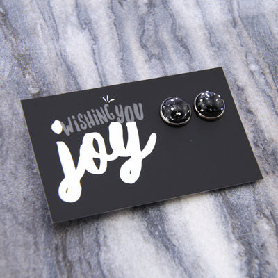 SPARKLEFEST - Wishing You Joy! Glitter Resin Earrings set in Silver - Black & Silver (9504)