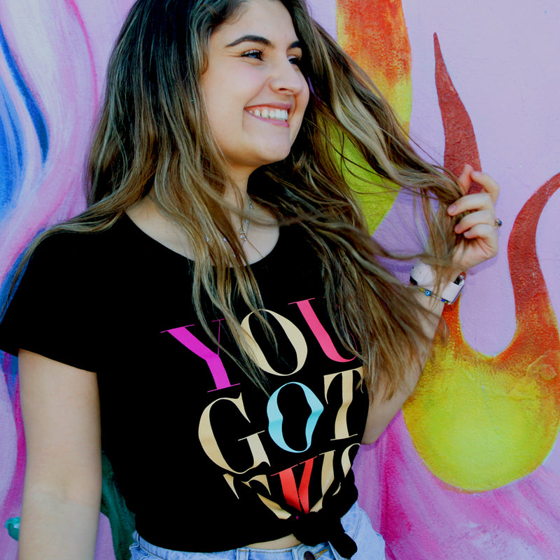 YOU GOT THIS Tee - Black Scoopy - Colourful Print