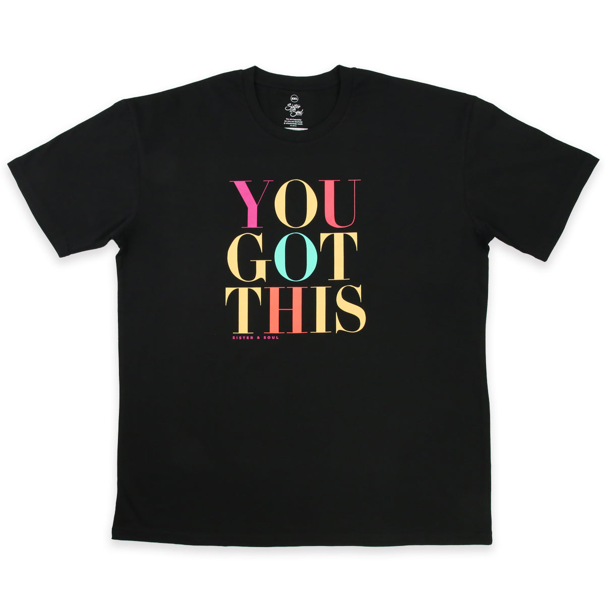 YOU GOT THIS - Plus Size Long Boxy Tee - Black with Colourful Print