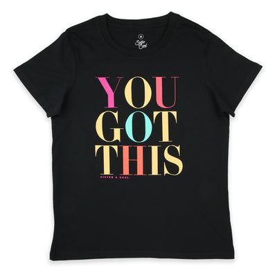 You Got This - Boxy Tee - Black with Colourful Print