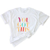 YOU GOT THIS - Plus Size Long Boxy Tee - White with Colourful Print