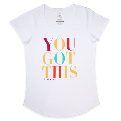 YOU GOT THIS Tee - White Scoopy - Colourful Print