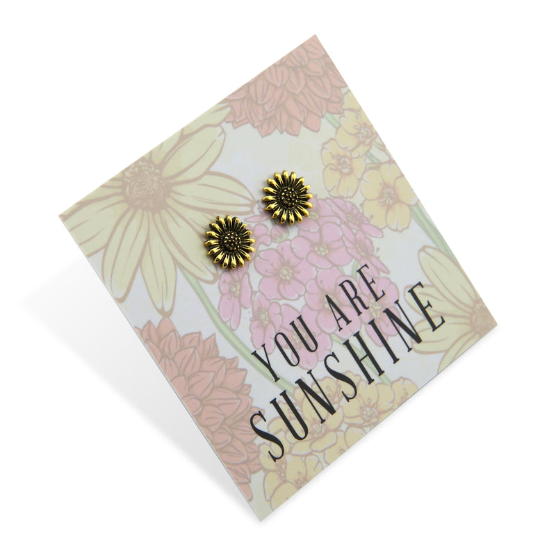 Wildflower Collection - You Are Sunshine - Sunflower Earring Studs - Bright Gold (8606-F)