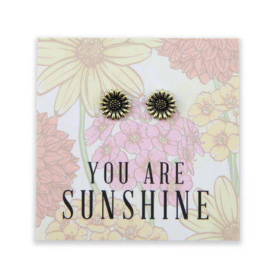 Wildflower Collection - You Are Sunshine - Sunflower Earring Studs - Vintage Gold (8610-R)