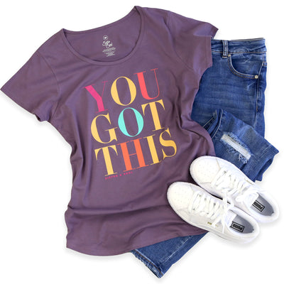 YOU GOT THIS Tee - Dusty Purple Scoopy - Colourful Print