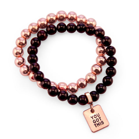 Bracelet Duo! Rose Gold & Garnet bead bracelet stacker set - YOU GOT THIS (10822)