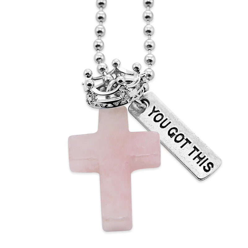Cross & Crown Necklace - Rose Quartz - With Word Charm