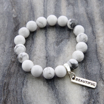 Stone Bracelet - White Marble large 10mm bead - with Word Charm