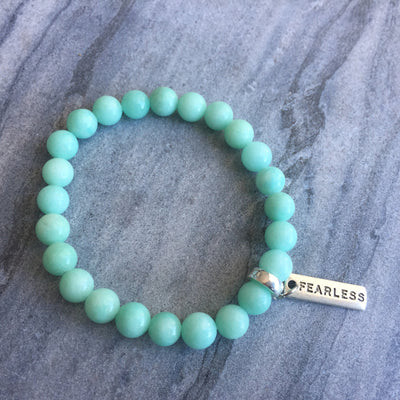 Stone Bracelet - Soft Mint Lava Stone  8mm - with Word Charm