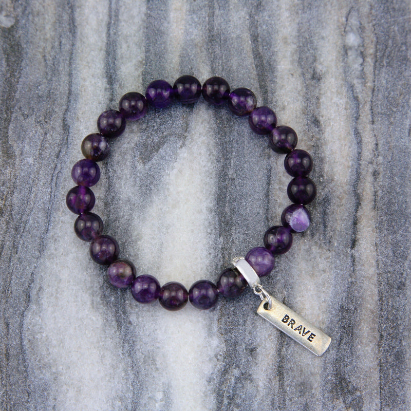 Precious Stone Bracelet - Amethyst 8mm beads - with Word charm