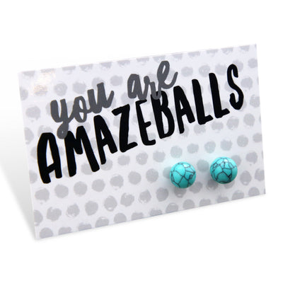 You Are Amazeballs! - Turquoise Stone Ball Earrings (8068)