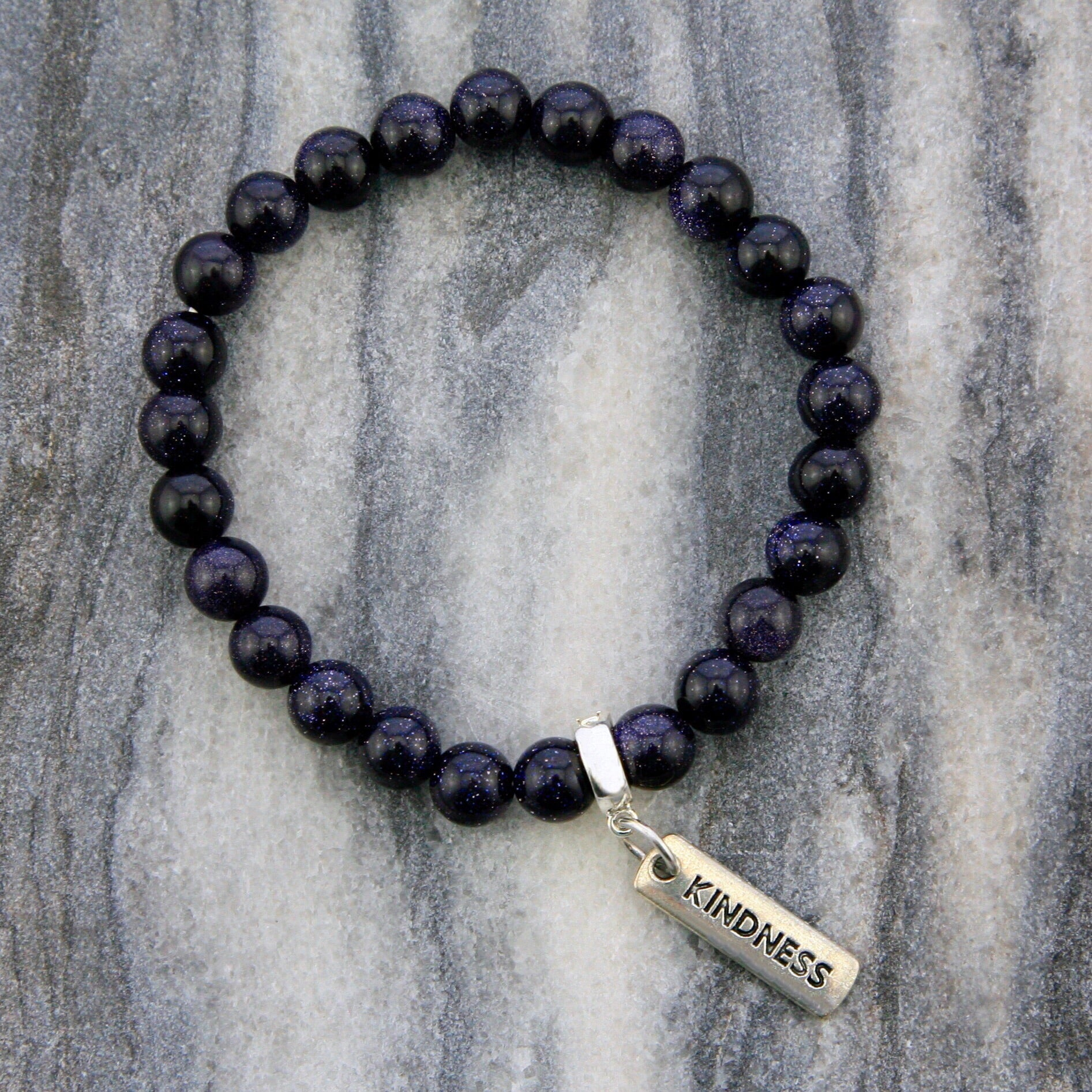 Stone Bracelet - Midnight Blue Sparkle 8mm beads - with Word charm