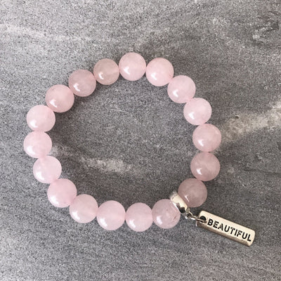 Stone Bracelet - Rose Quartz - 10mm Beads - with Word Charm