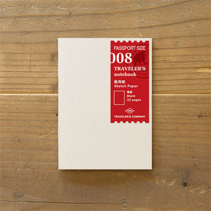 Traveler's Notebook Refill 008 - Sketch Paper Passport Size