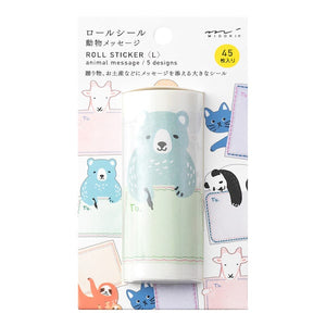 Midori Roll Sticker Animal Message Pattern