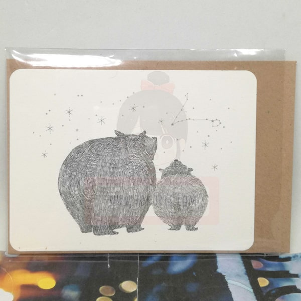 Bear Looking At The Stars Greeting Card