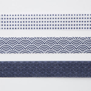 Muji Masking Tape 3 Patterns Indigo Blue