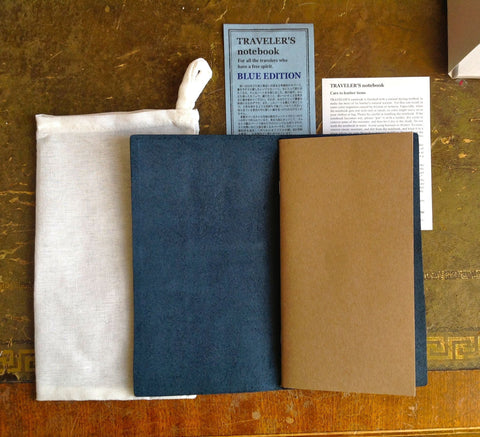 Midori Traveler's Notebook Blue Edition (LIMITED EDITION 2015) Leather Cover Set