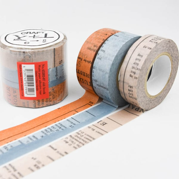 Classiky Washi Masking Tape Old Book 3 Color Set