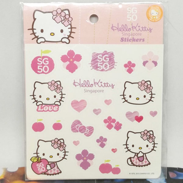 Hello Kitty Singapore Stickers Pink
