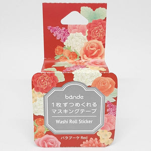 Bande Washi Roll Sticker Flowers Red