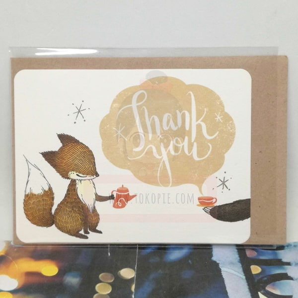 Thank You Fox Having Tea Greeting Card