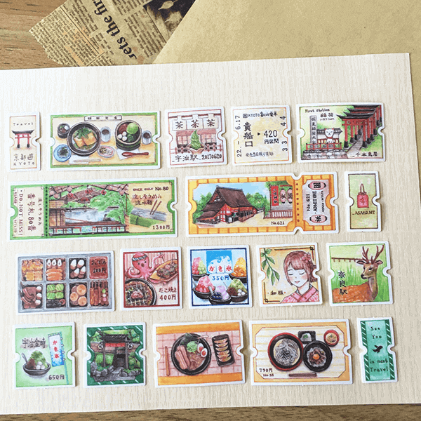 Asako Stickers Kyoto Travel Tickets