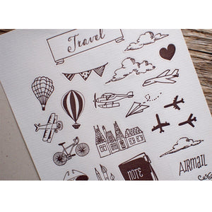 Travel Letterpress Stickers - Travel