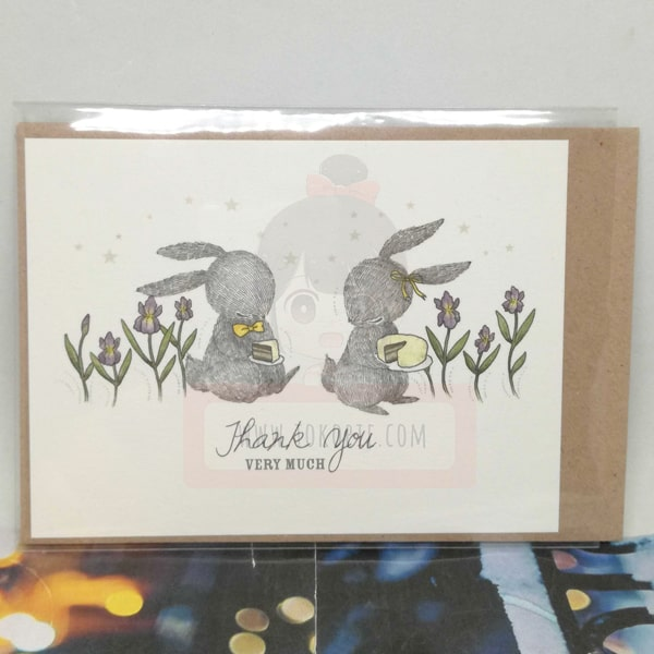 Thank You Very Much Rabbit With Flowers And Cake Greeting Card