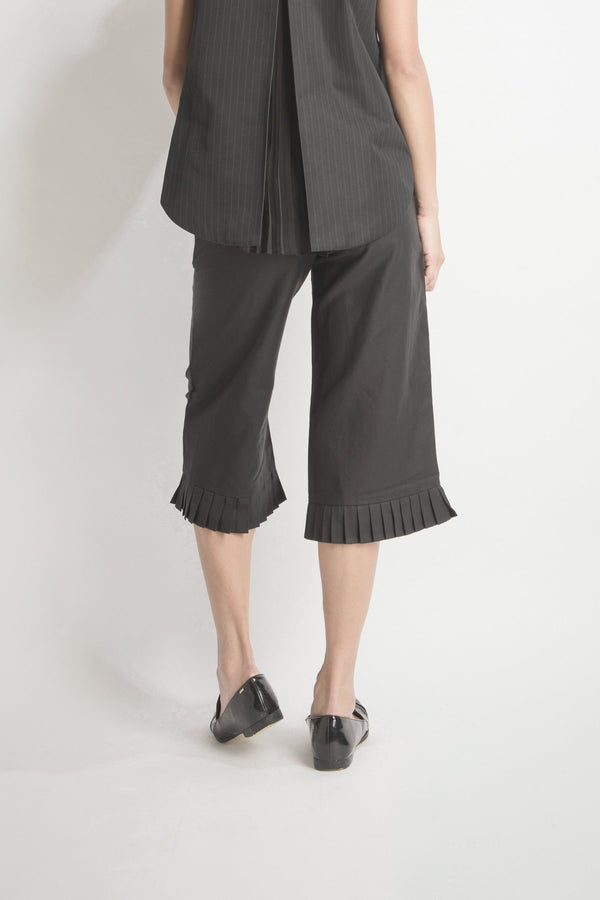Pleated Hem Wide-leg Pants