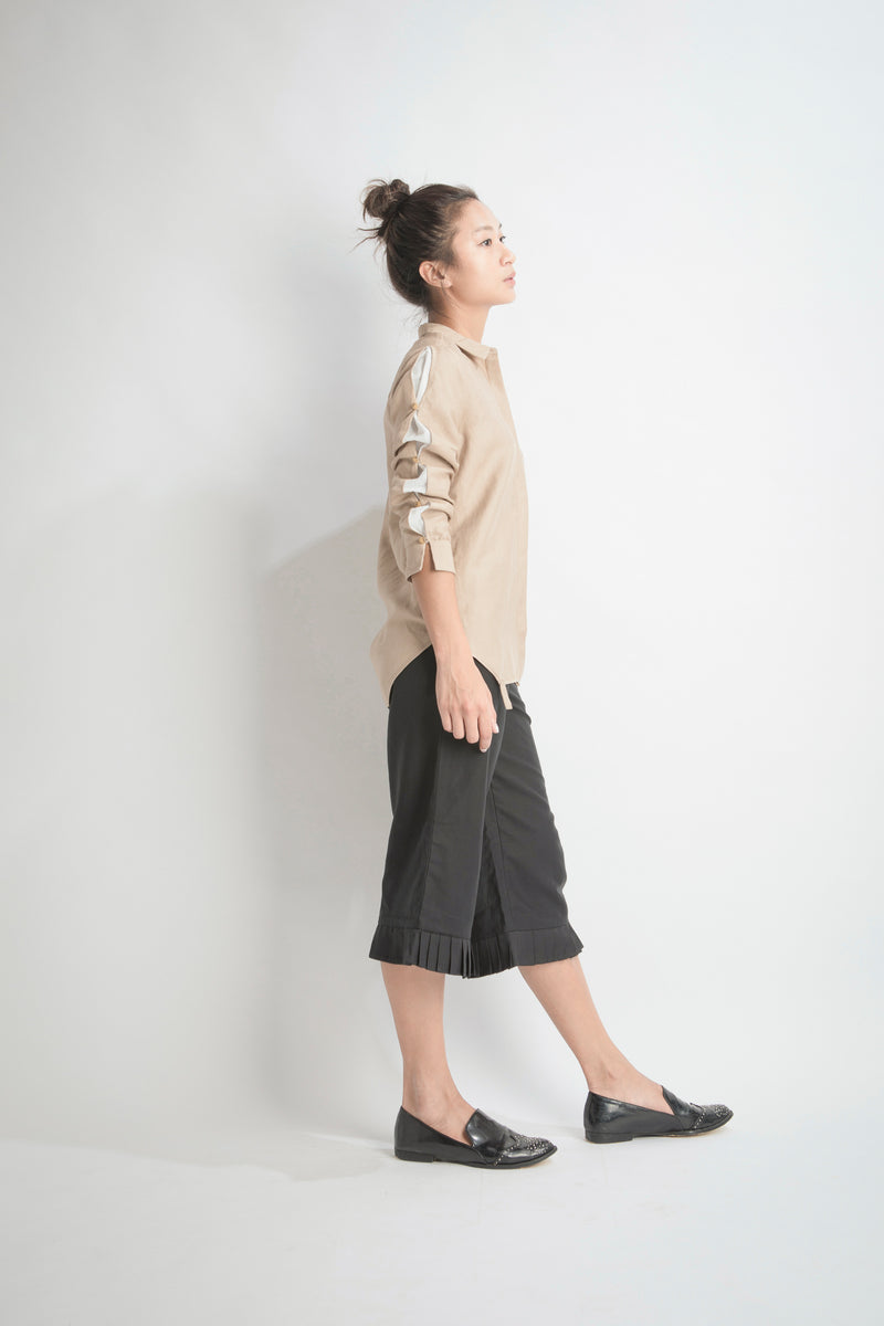 Buttoned Sleeve Shirt | Brown