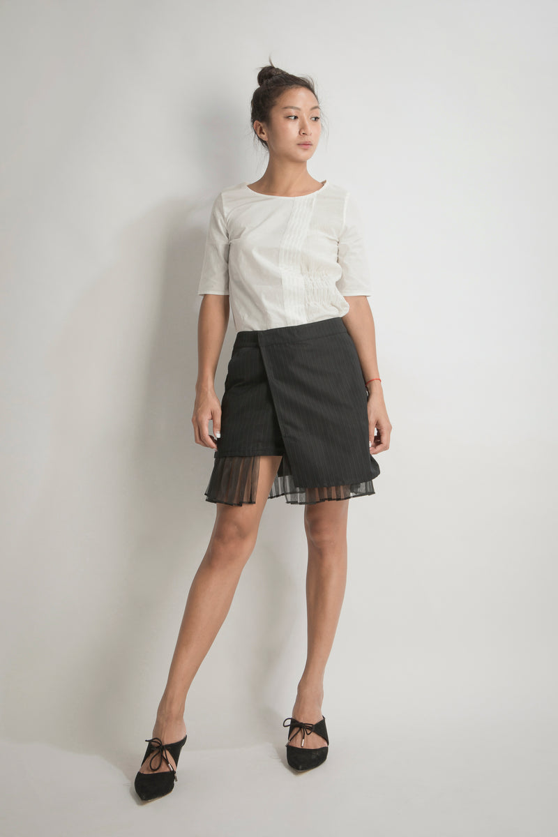 Pleated Wrap Short Skirt