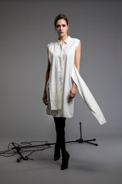 Playful Tie-up Sleeveless Shirtdress