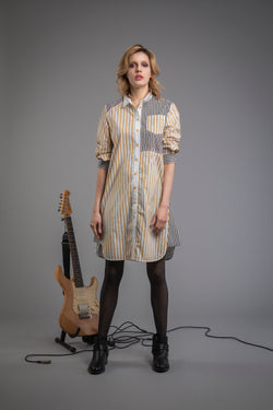 Stripe ZigZag Patchwork Shirtdress