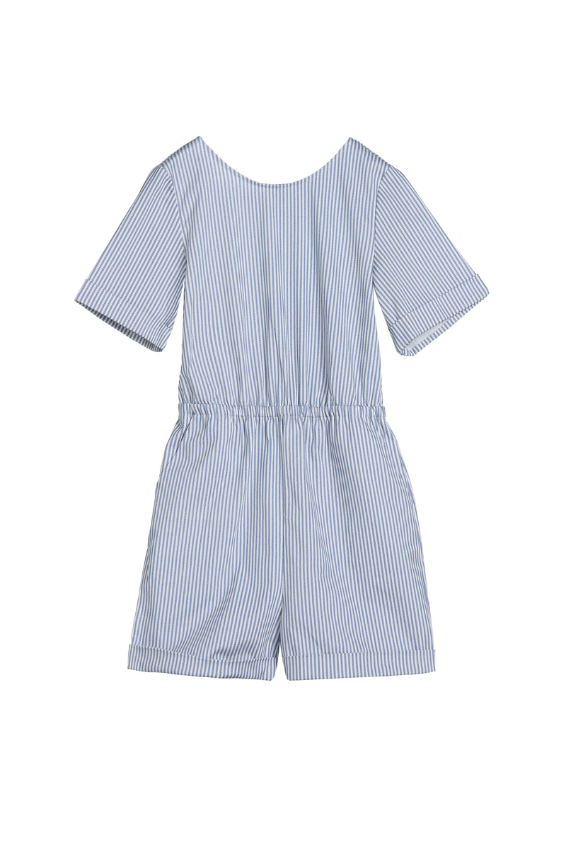V-Back jumpsuit | Blue Stripe