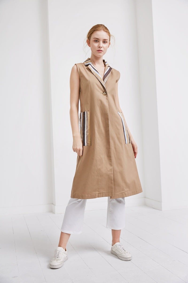 Vest Trench Coat | Khaki