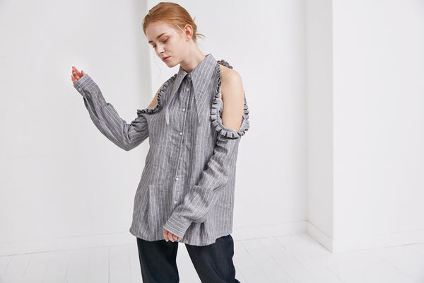 GiGi Shirt | Grey Stripe