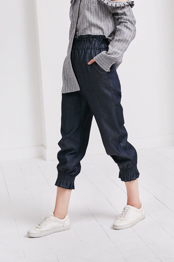 High Waist Cropped Trousers |  Indigo