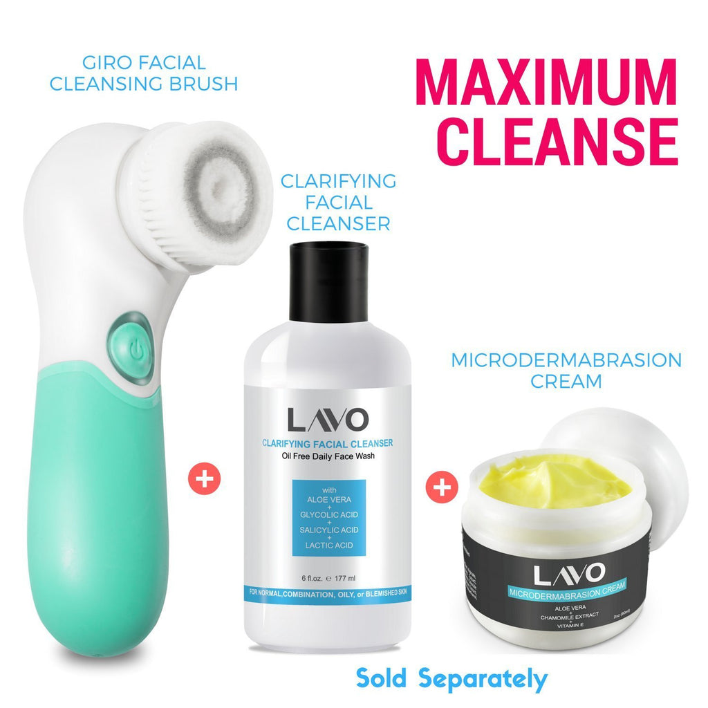 Facial Cleansing Brush by LAVO - Electric Spin Scrubber and Exfoliator for Face - Scrub Skin - Exfoliating Cleanser